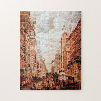 Rompecabezas del vintage de la calle de Broadway