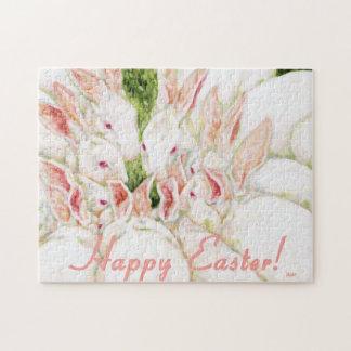 Rompecabezas feliz de Pascua - conejos blancos