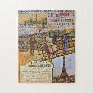 Rompecabezas ferroviario del poster del vintage
