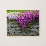 Rompecabezas floral de la pared de piedra