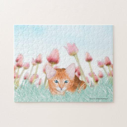 Rompecabezas floral del gatito