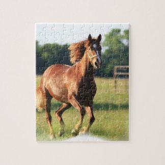 Rompecabezas galopante del caballo de la castaña