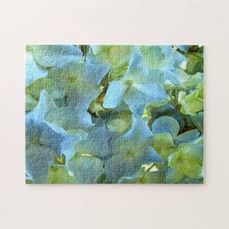 Rompecabezas grande floral del Hydrangea azul clar