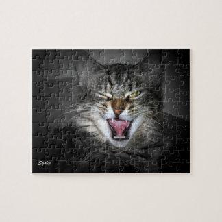 Rompecabezas gruñón del gruñido del gato