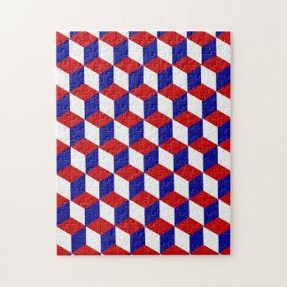 Rompecabezas - ilusión del bloque en rojo, blanco,
