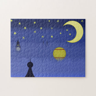 Rompecabezas ilustrado del cielo nocturno