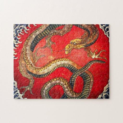 Rompecabezas japonés del dragón del oro de Hokusai