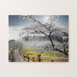 Rompecabezas japonés del paisaje de la cereza