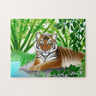 Rompecabezas joven pacífico del tigre de Bengala