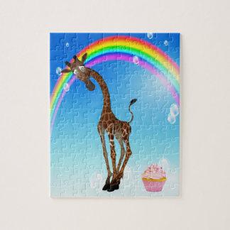 Rompecabezas lindo de la jirafa de la magdalena y