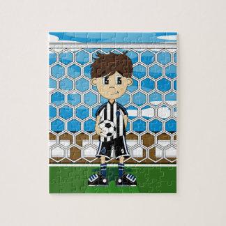 Rompecabezas lindo del muchacho del fútbol