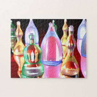 Rompecabezas llamativo de las botellas