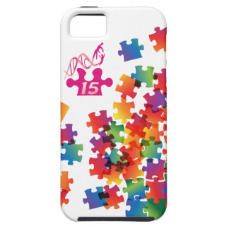 Rompecabezas multicolor del logotipo rosado del iPhone 5 fundas