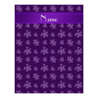 Rompecabezas púrpura conocido personalizado membretes personalizados
