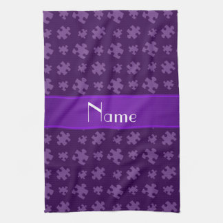 Rompecabezas púrpura conocido personalizado toalla