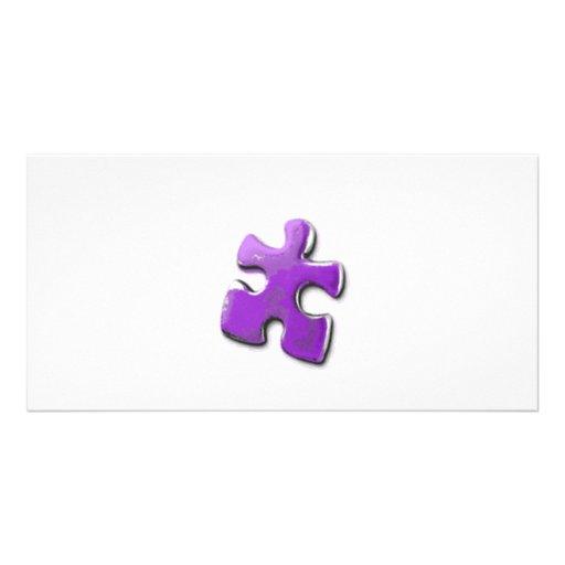 ¡Rompecabezas púrpura! Un diseño también para la c Tarjetas Fotograficas