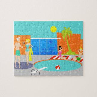Rompecabezas retro de la fiesta en la piscina