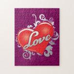Rompecabezas rojo del corazón del amor