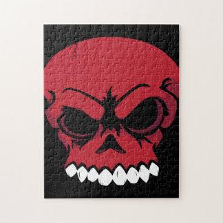 Rompecabezas rojo del cráneo del vector