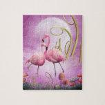 Rompecabezas rosado caprichoso de los flamencos