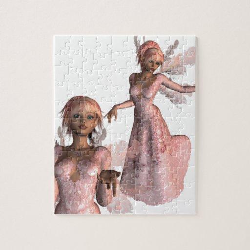 Rompecabezas rosado de los ángeles