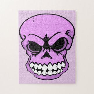 Rompecabezas rosado del cráneo del vector