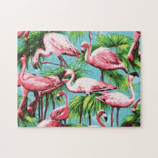 Rompecabezas rosado retro fresco de los flamencos