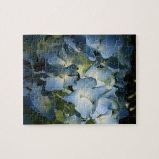 Rompecabezas sombreado azul de la flor del Hydrang