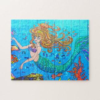 rompecabezas subacuático tropical de la sirena