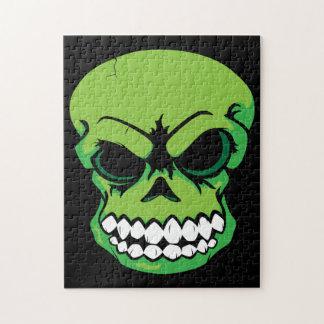 Rompecabezas verde del cráneo del vector
