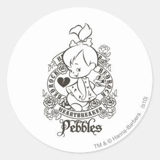 Rompecorazones 1 de PEBBLES™ Pegatina Redonda