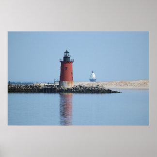 Rompeolas de Delaware y puerto de los faros del re Poster