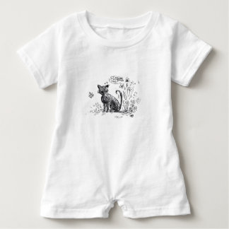 Romper with cute cat and butterfly illustration.