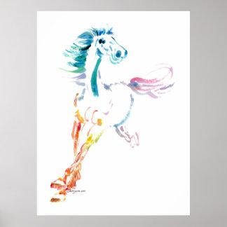 Romping Rainbow Horse Art Poster