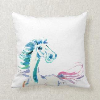 Romping Rainbow Horse Art Throw Pillow