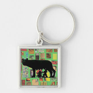Romulus And Remus Silver-Colored Square Keychain