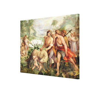 Romulus suckled by the she-wolf canvas print