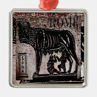 Romulus y Remus Adorno Navideño Cuadrado De Metal