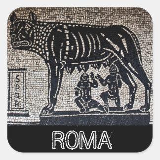 Romulus y Remus Pegatina Cuadrada