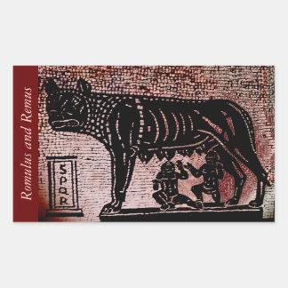 Romulus y Remus Pegatina Rectangular