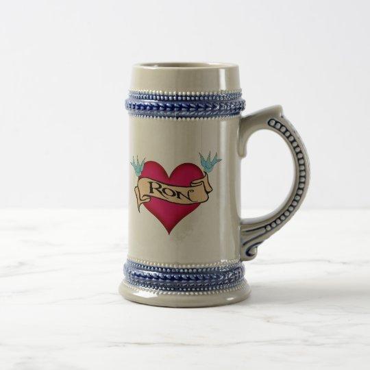 Ron - Custom Heart Tattoo T-shirts & Gifts Beer Stein