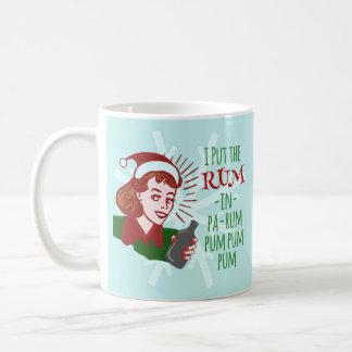 Ron de consumición del navidad de la mujer retra taza clásica