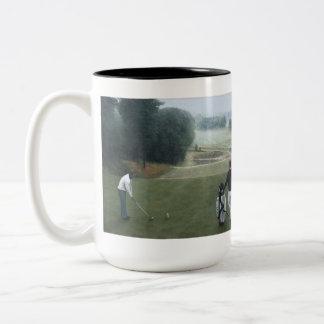 Ron McGill Golfing Oil Painting 1 Two-Tone Coffee Mug