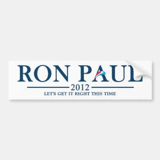 Ron Paul 2012 - Consigámosle este vez Pegatina Para Auto