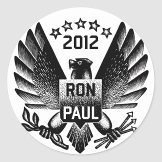 Ron Paul 2012 Eagle negro Pegatina Redonda