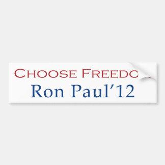 Ron Paul 2012 elige a la pegatina para el parachoq Pegatina Para Auto