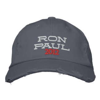 RON PAUL 2012 Embroidered Distressed Chino Twill Baseball Cap