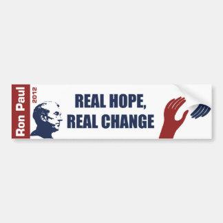 Ron Paul 2012: Esperanza real, cambio real Pegatina De Parachoque