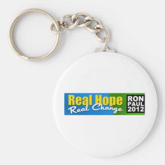Ron Paul 2012: Esperanza real, cambio real Llavero Redondo Tipo Pin