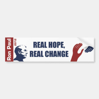 Ron Paul 2012: Esperanza real, cambio real Pegatina Para Auto